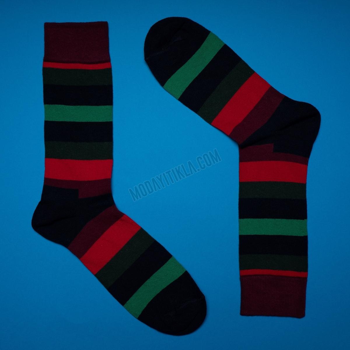 Erkek Çizgili Çok Renkli Çorap