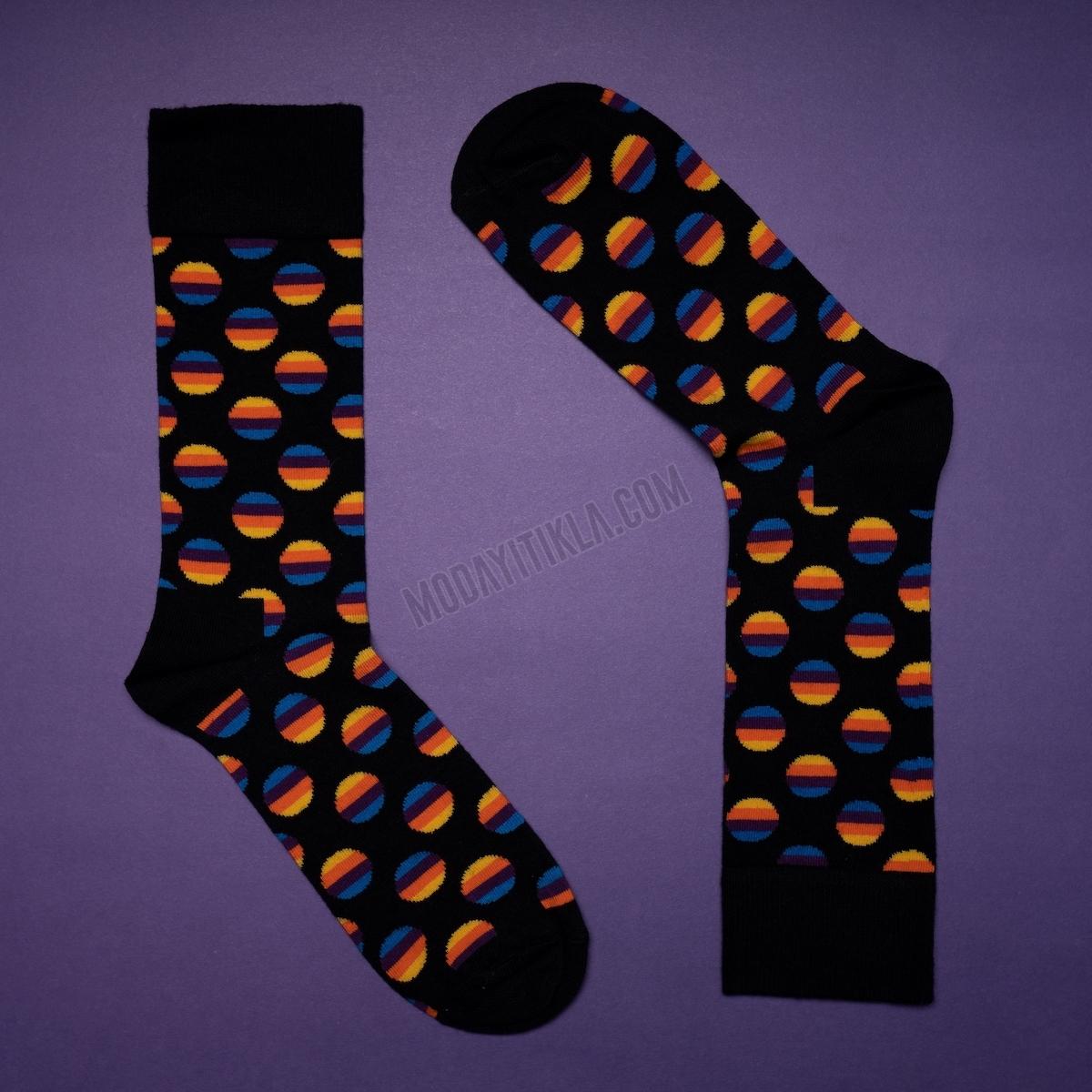 Erkek Gün Batımı Desenli Siyah Çorap