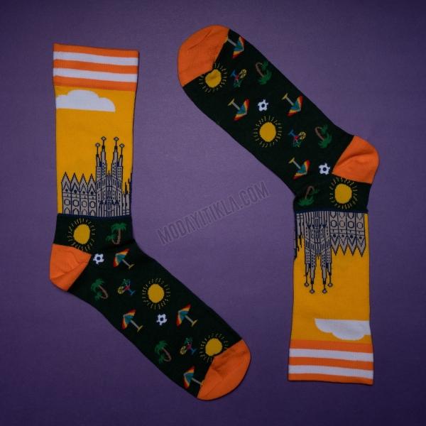 Erkek Plaj Desenli Siyah Çorap