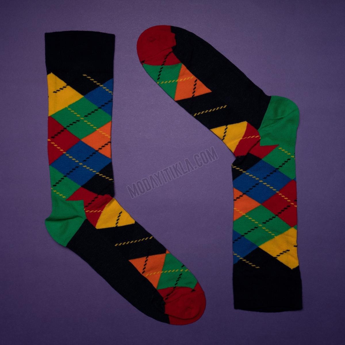 Erkek Baklava Desenli Çizgili Siyah Çorap