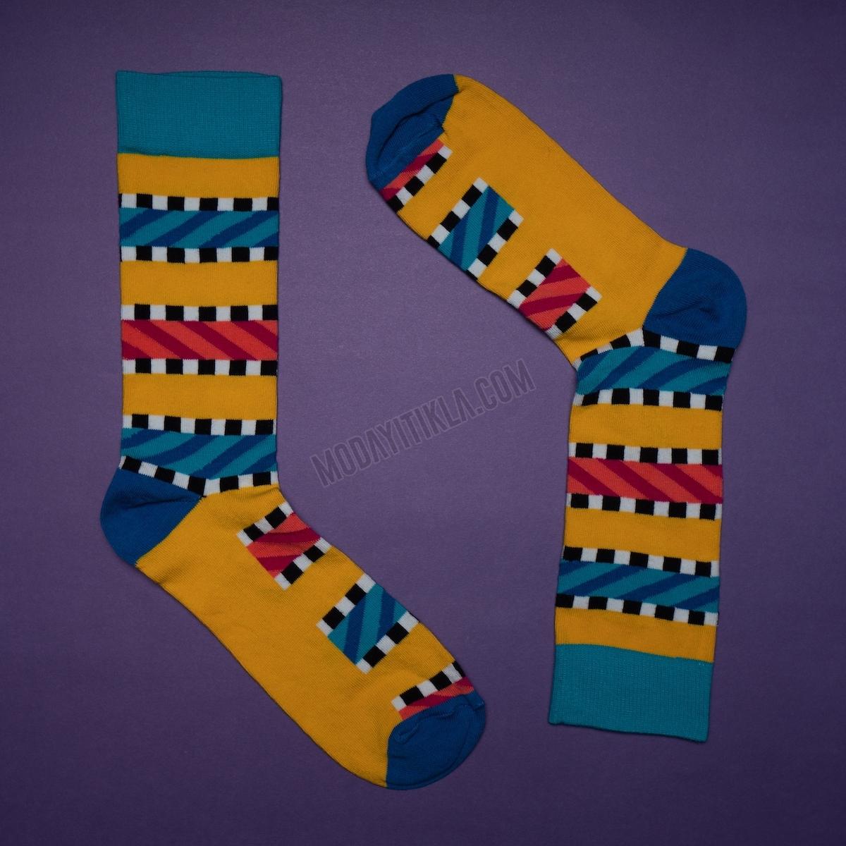 Erkek Kareli Çizgili Sarı Çorap