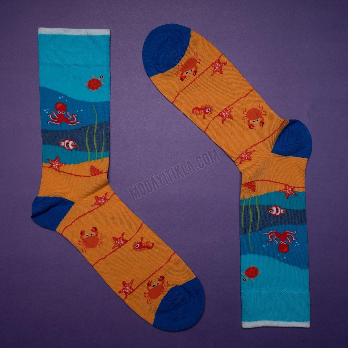 Erkek Kumsal Desenli Turuncu Çorap