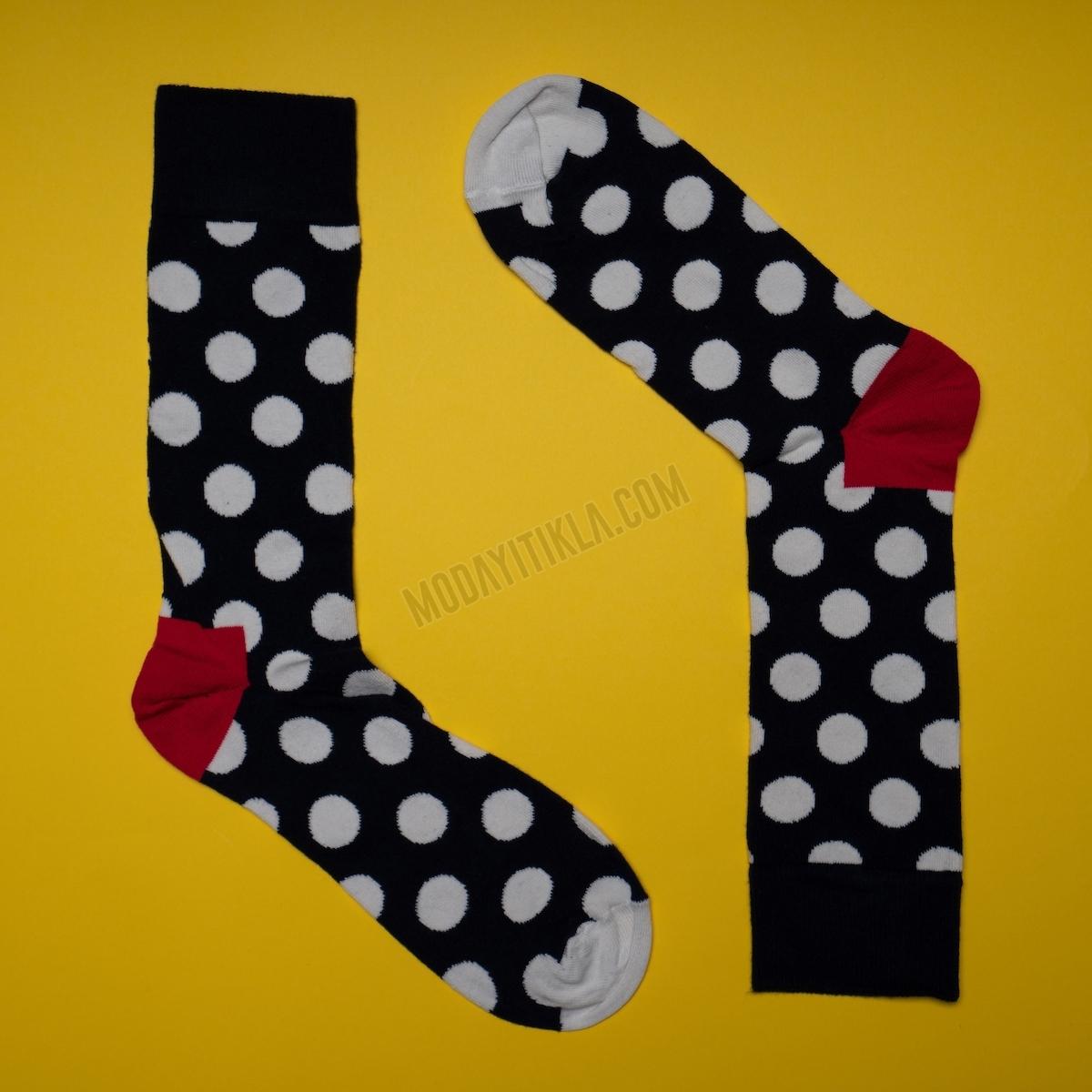 Erkek Puantiyeli Dirseği Kırmızı Çorap