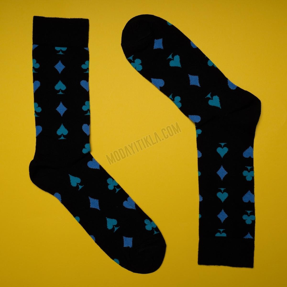 Erkek Poker Desenli Siyah Çorap