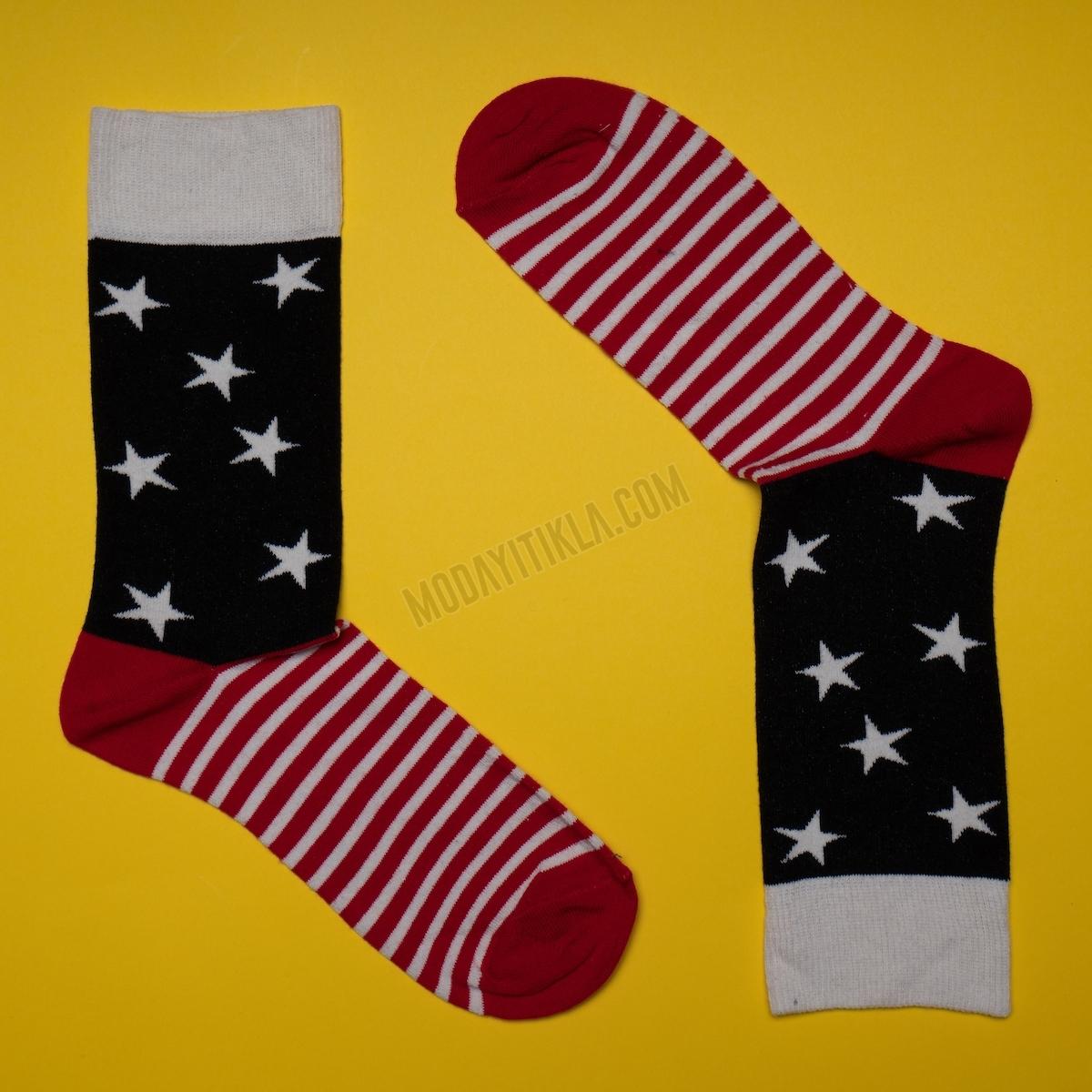 Erkek Yıldız Desenli Siyah Çorap
