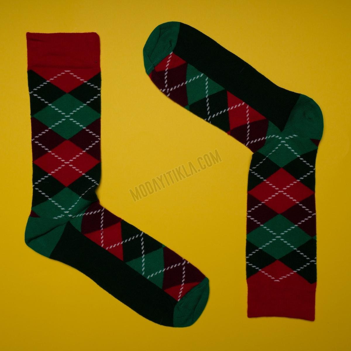 Erkek Baklava Desenli Siyah-Yeşil Çorap