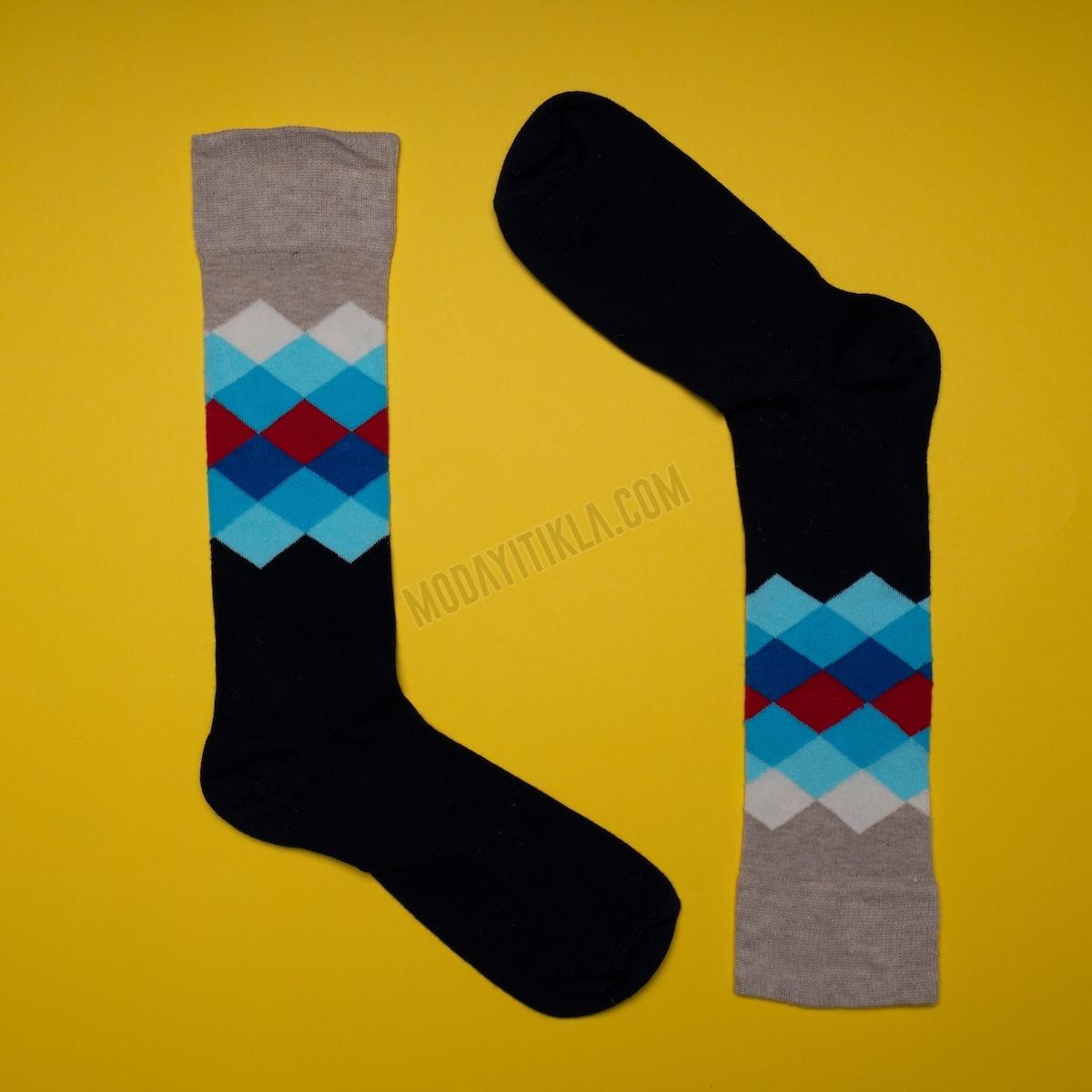 Erkek Baklava Desenli Çok Renkli Çorap