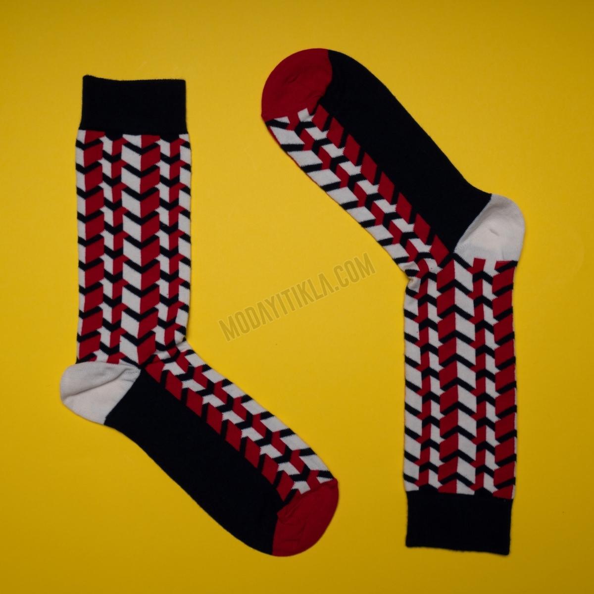 Erkek 3D Küp Desenli Siyah Çorap