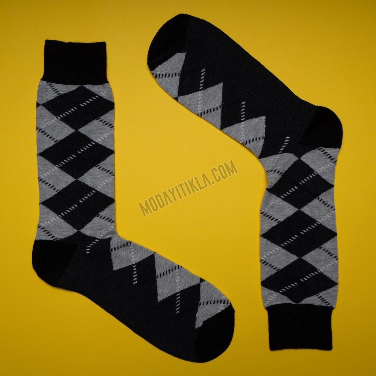 Erkek Baklava Desenli Siyah-Gri Çorap