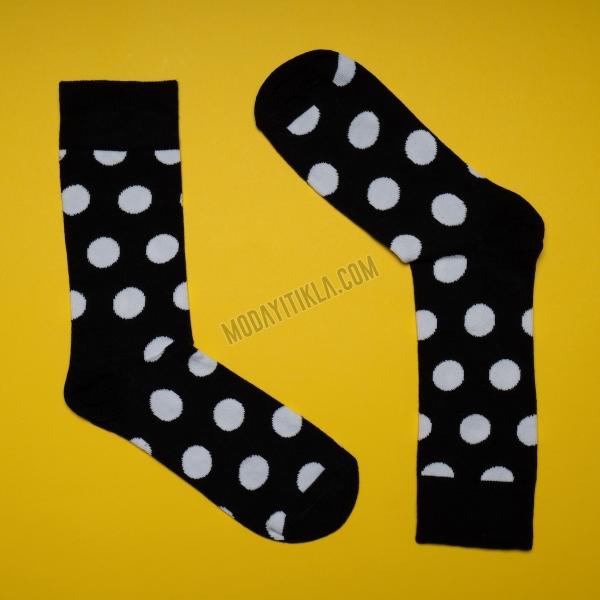 Erkek Puantiyeli Siyah Çorap