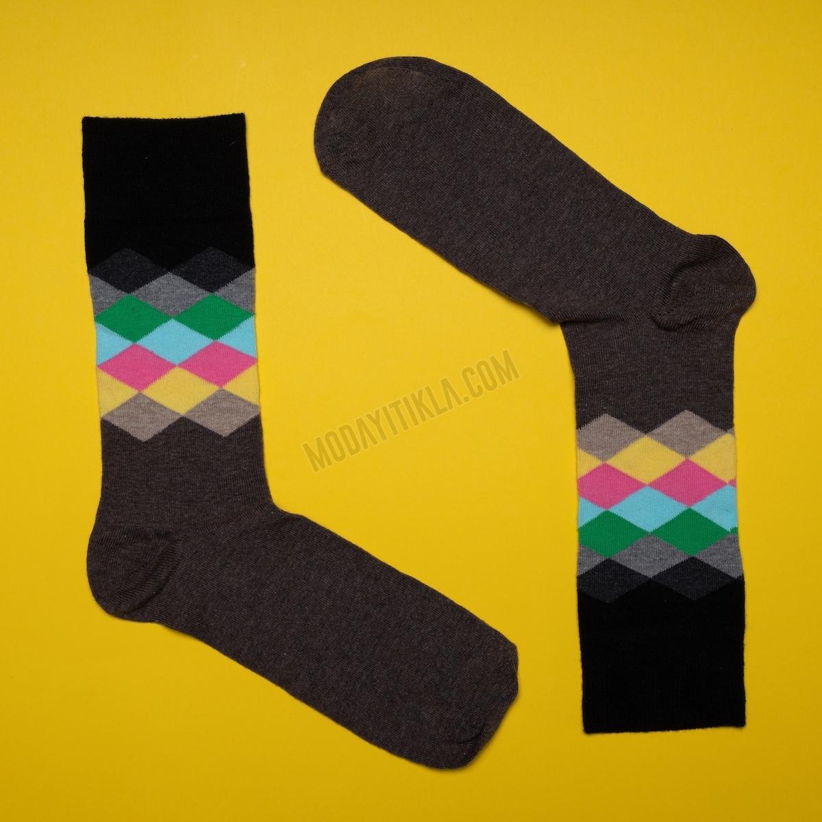 Erkek Baklava Desen Kahve Rengi Çorap