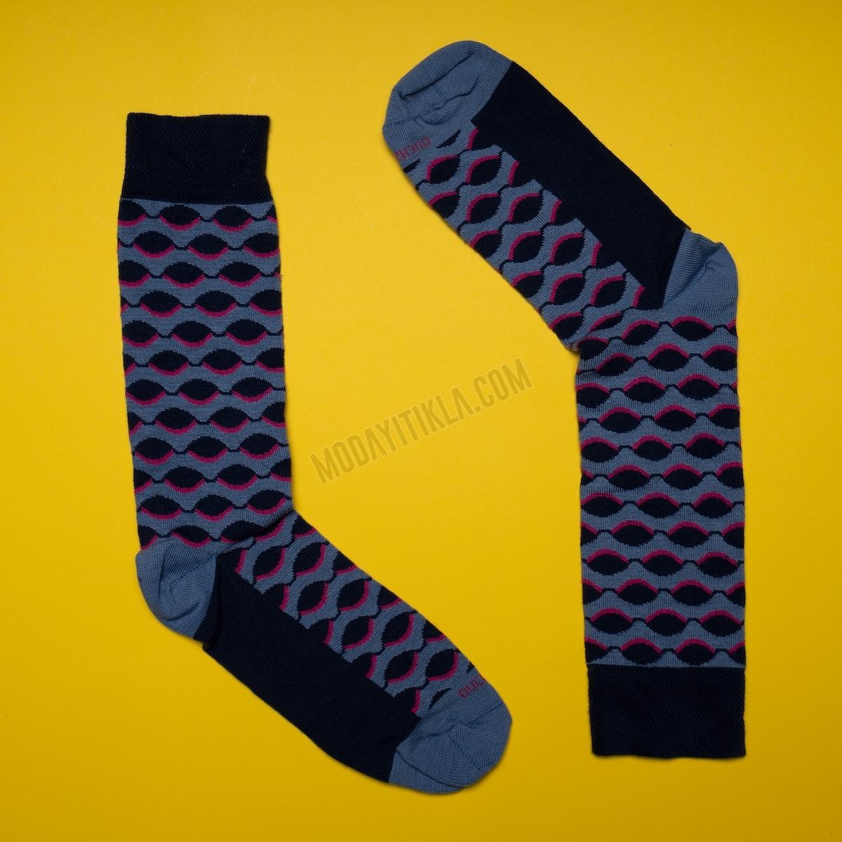 Erkek Oval Desenli Siyah-Mavi Çorap