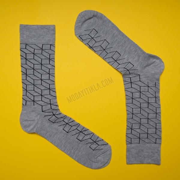 Erkek 3D Desenli Gri Çorap