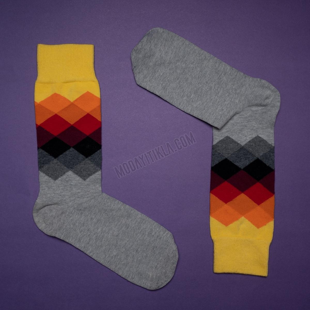 Erkek Baklava Desenli Gri Çorap