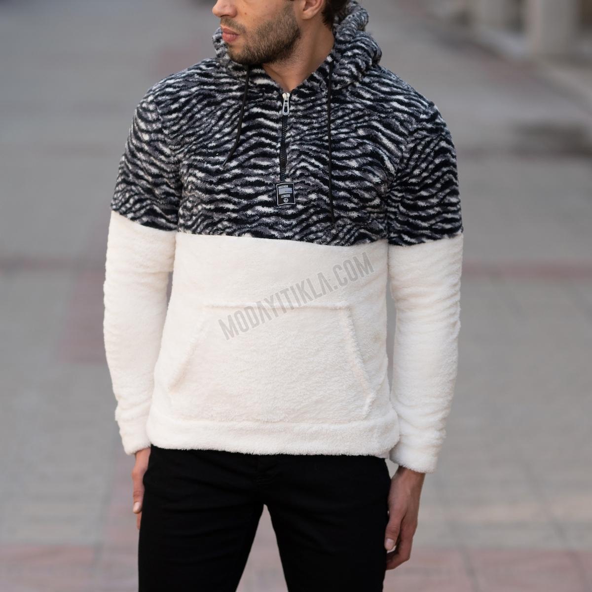 Erkek Polar Zebra Desenli Kapüşonlu SweatShirt