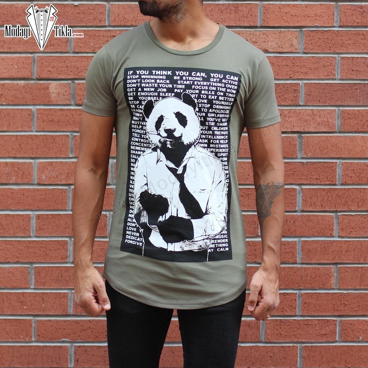 Erkek Panda Baskılı Yuvarlak Yaka Uzun Tişört