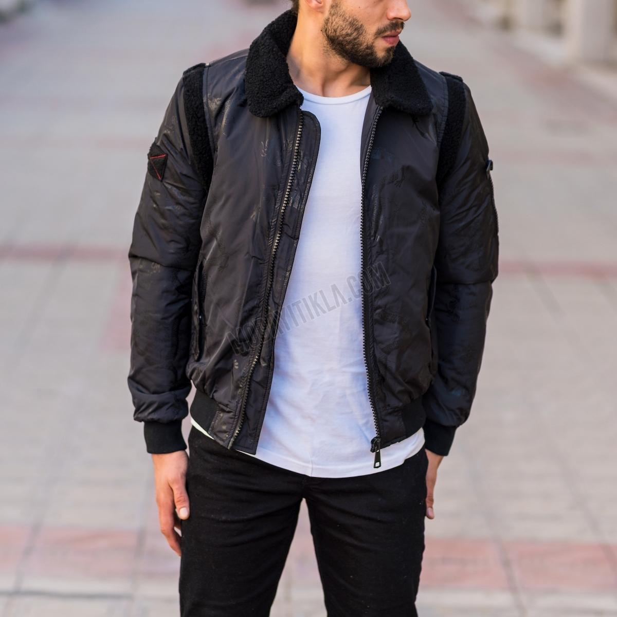 Erkek Siyah Dragon Desenli Ceket