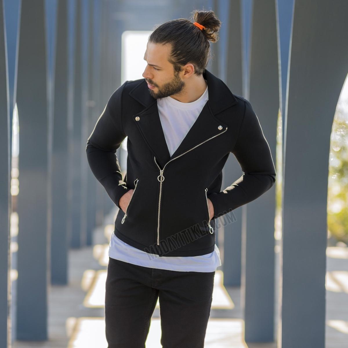 Erkek Kruvaze Siyah Dalgıç Ceketi