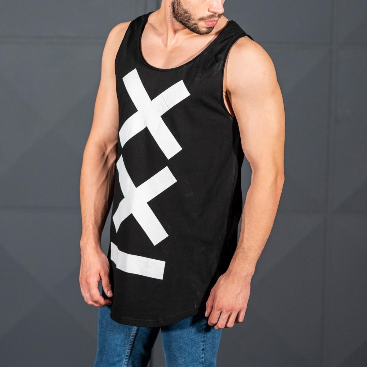 Erkek Gym Kolsuz Spor Uzun XX Logo Atlet Tişört Siyah