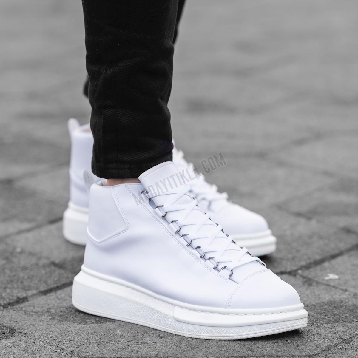 Erkek High Beyaz Sneaker Ayakkabı