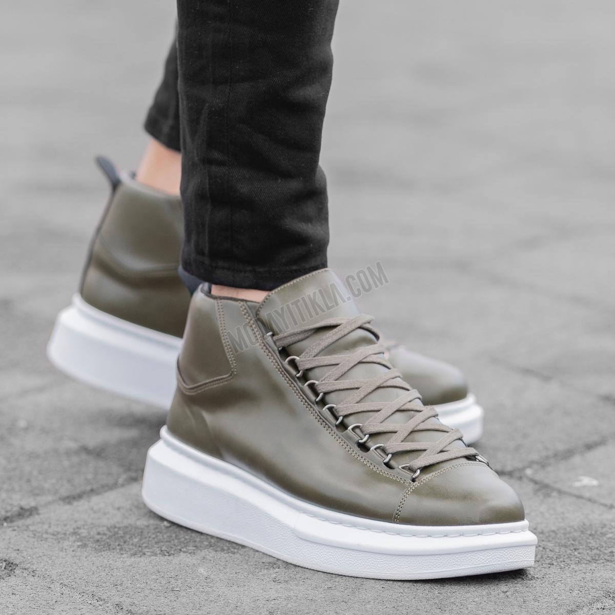 Erkek High Haki Sneaker Ayakkabı