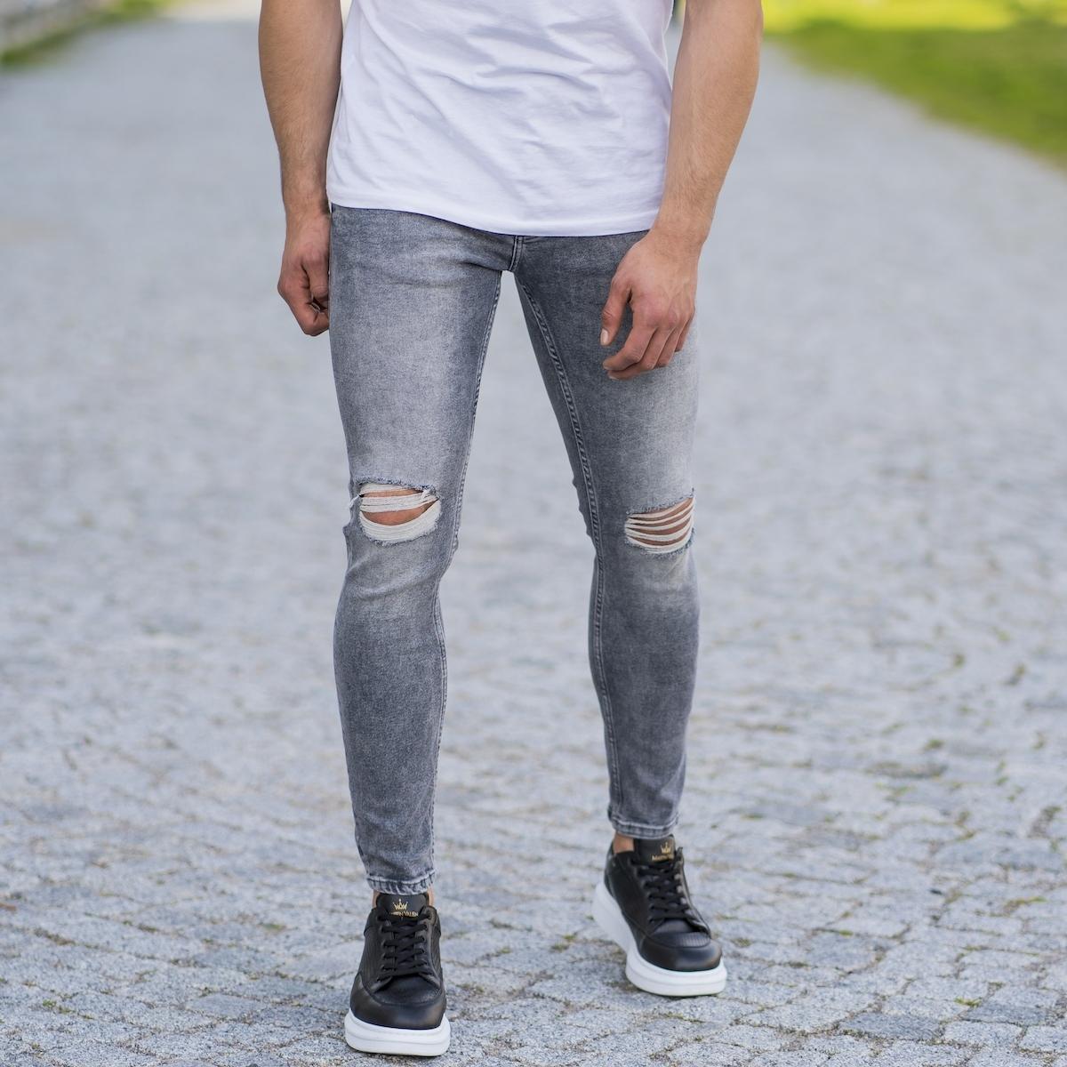 Erkek Dar Paça Yırtık Taşlamalı Likralı Gri Kot Pantolon