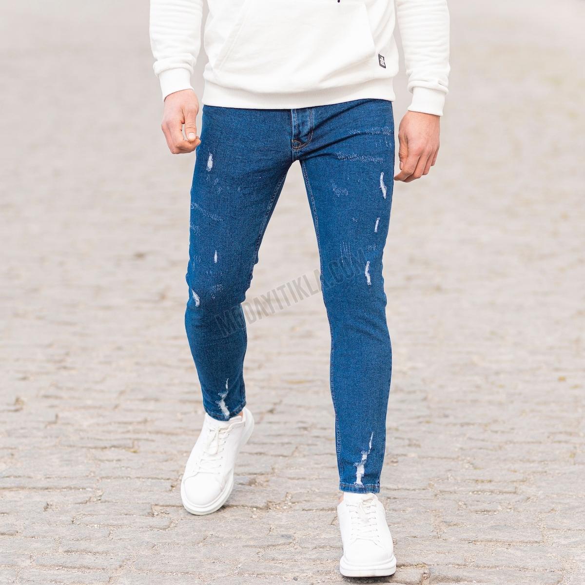 Erkek Taşlamalı Koyu Mavi Kot Pantolon