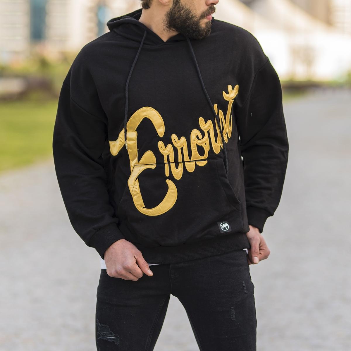 Erkek Siyah Errorist Baskılı SweatShirt
