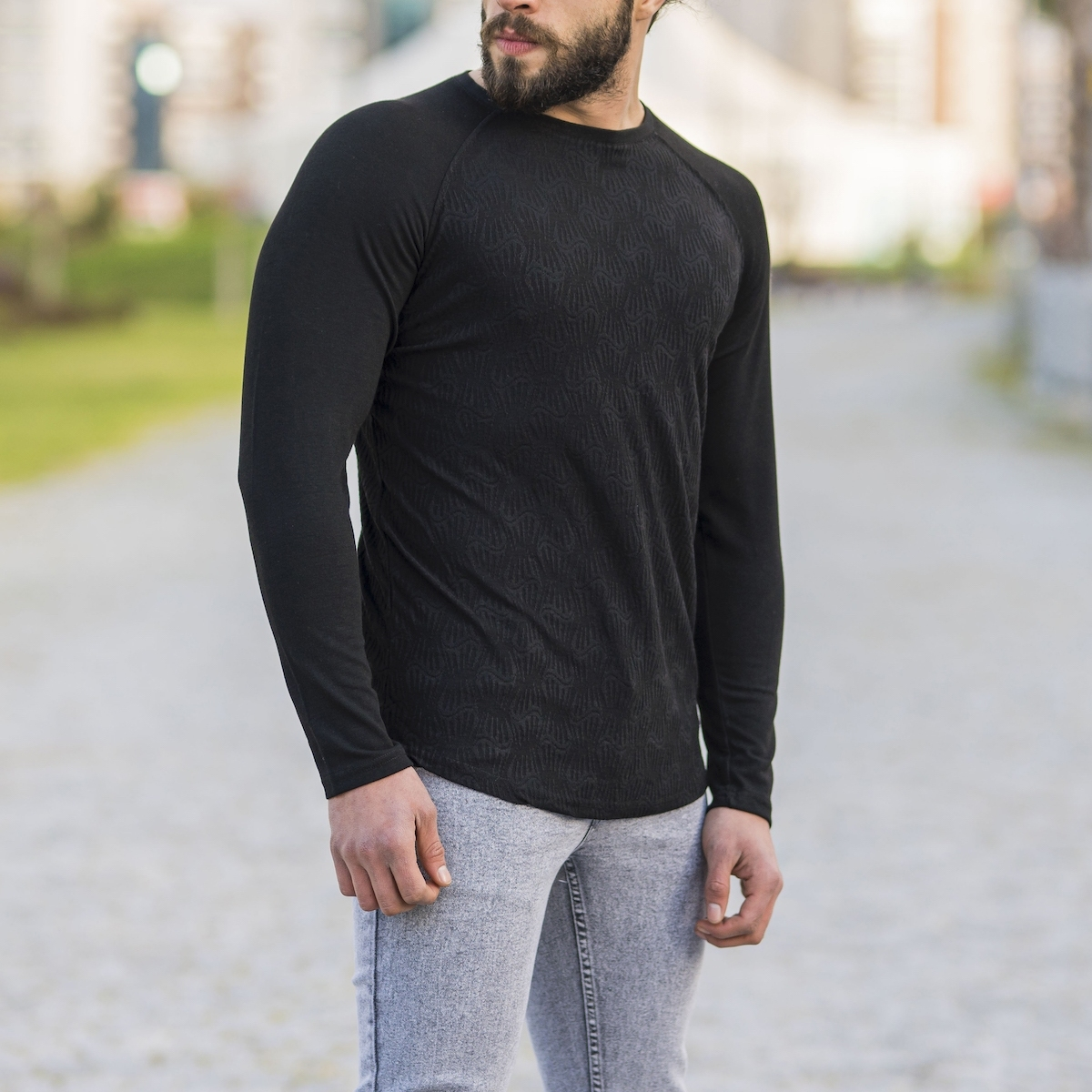 Erkek Etnik Desenli Siyah Sweatshirt