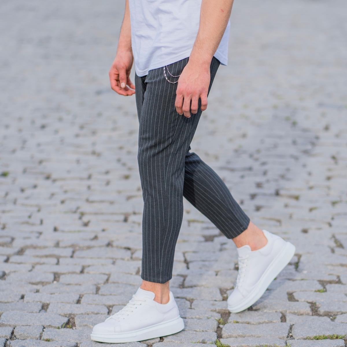 Erkek Dar Paça Çizgili Zincirli Füme Kumaş Pantolon