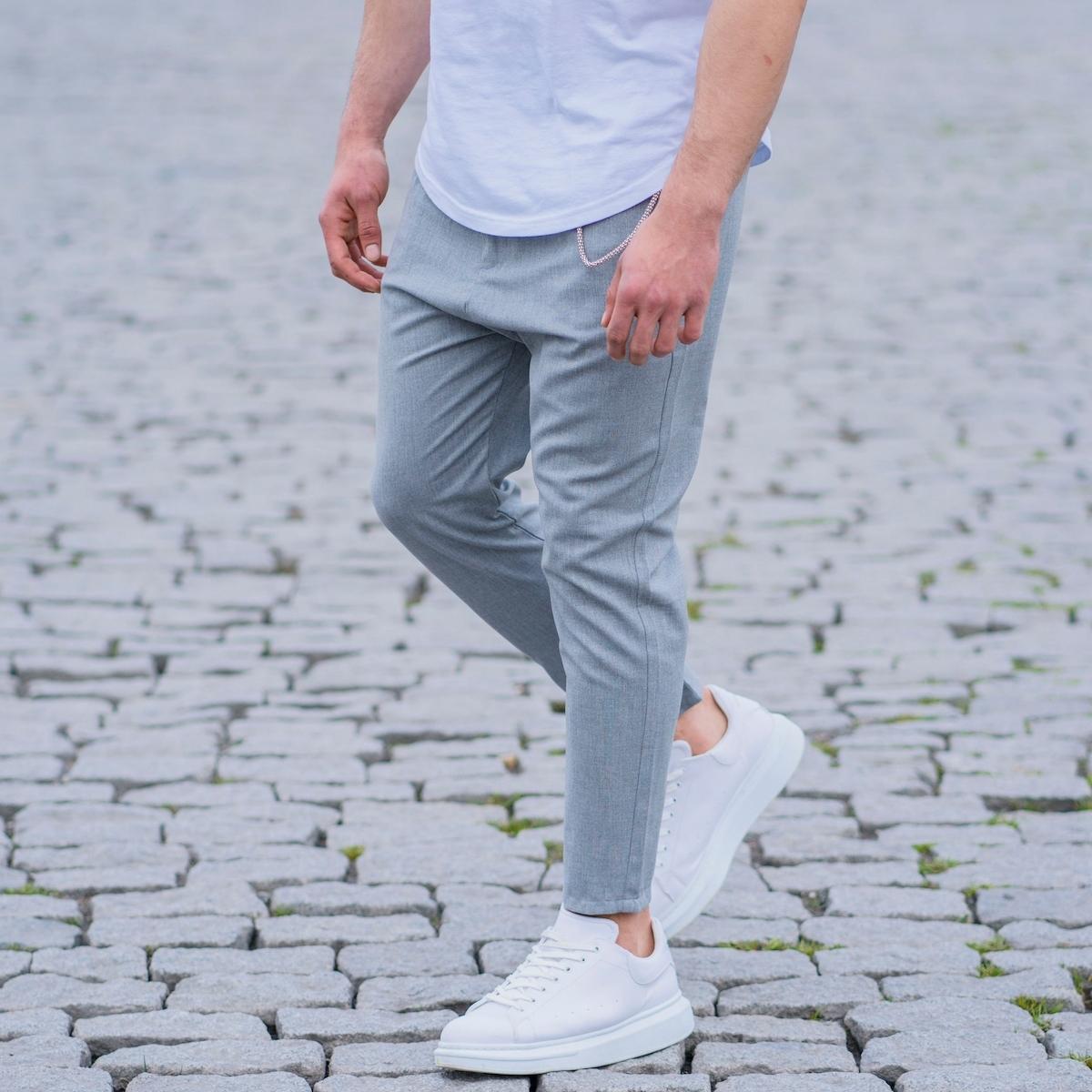 Erkek Dar Paça Fit Zincirli Gri Kumaş Pantolon
