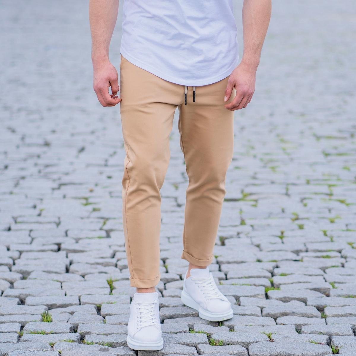 Erkek Basic Bej Kumaş Pantolon