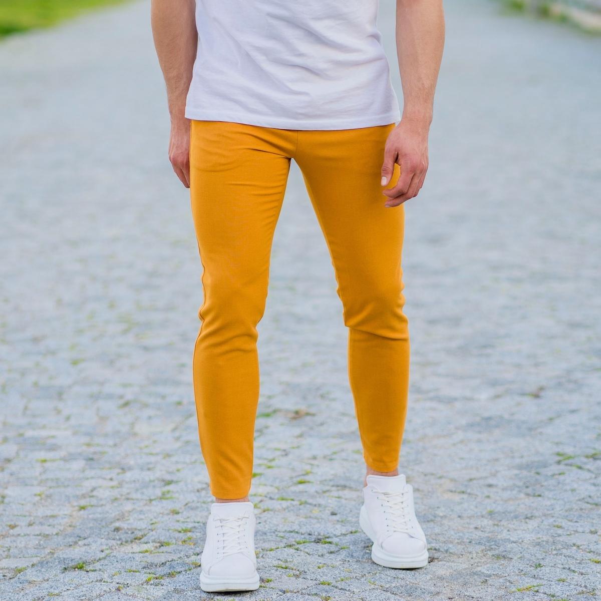 Erkek Dar Paça Fit Hardal Kumaş Pantolon