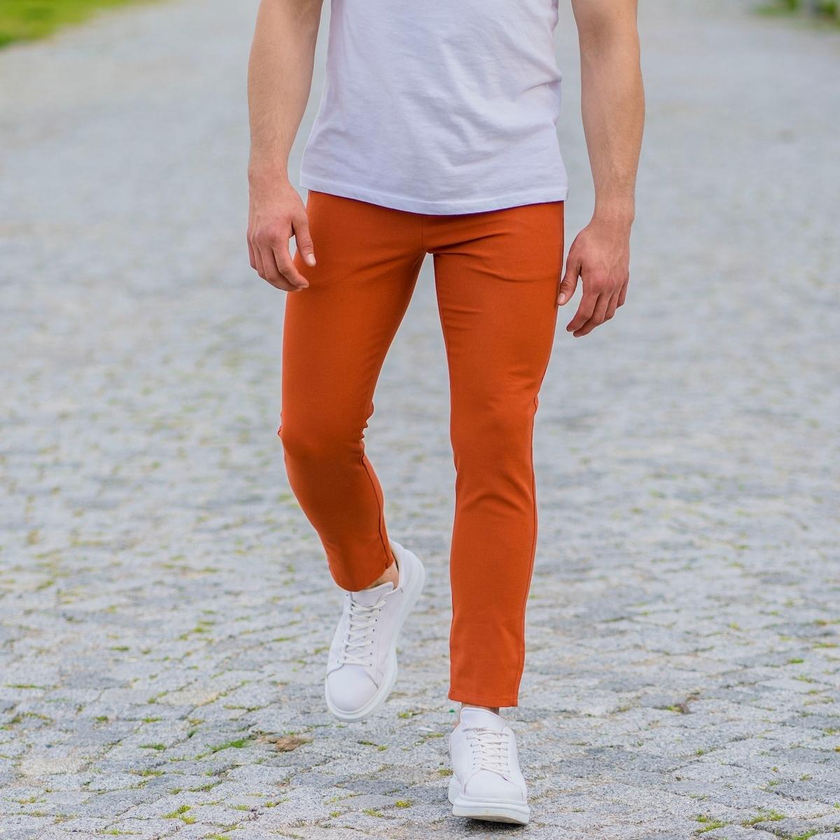 Erkek Dar Paça Fit Turuncu Kumaş Pantolon