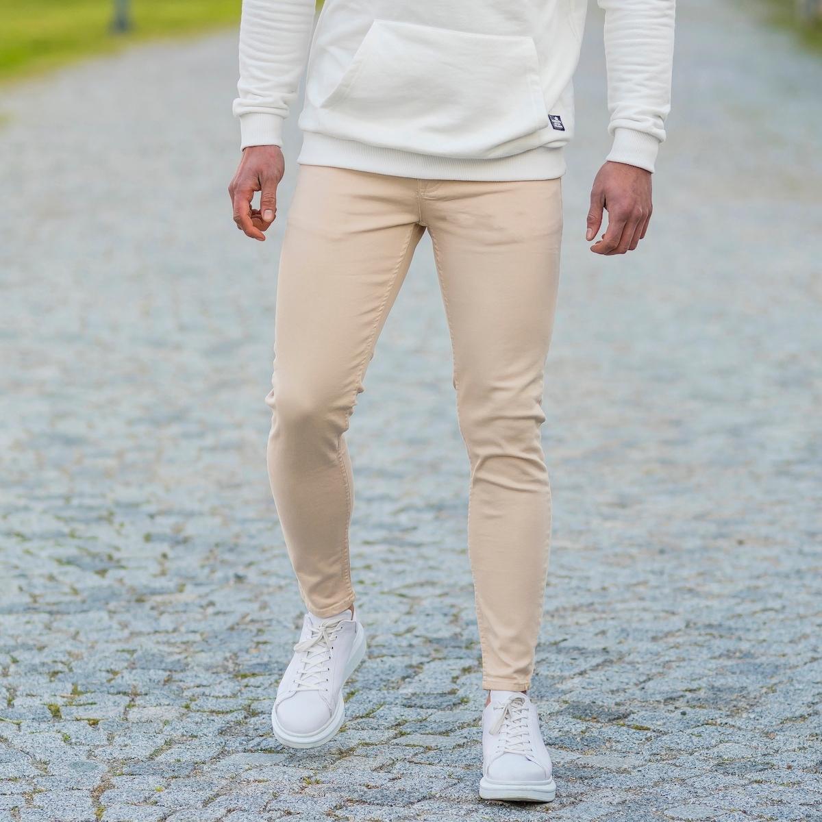 Erkek Krem Likralı Kot Pantolon