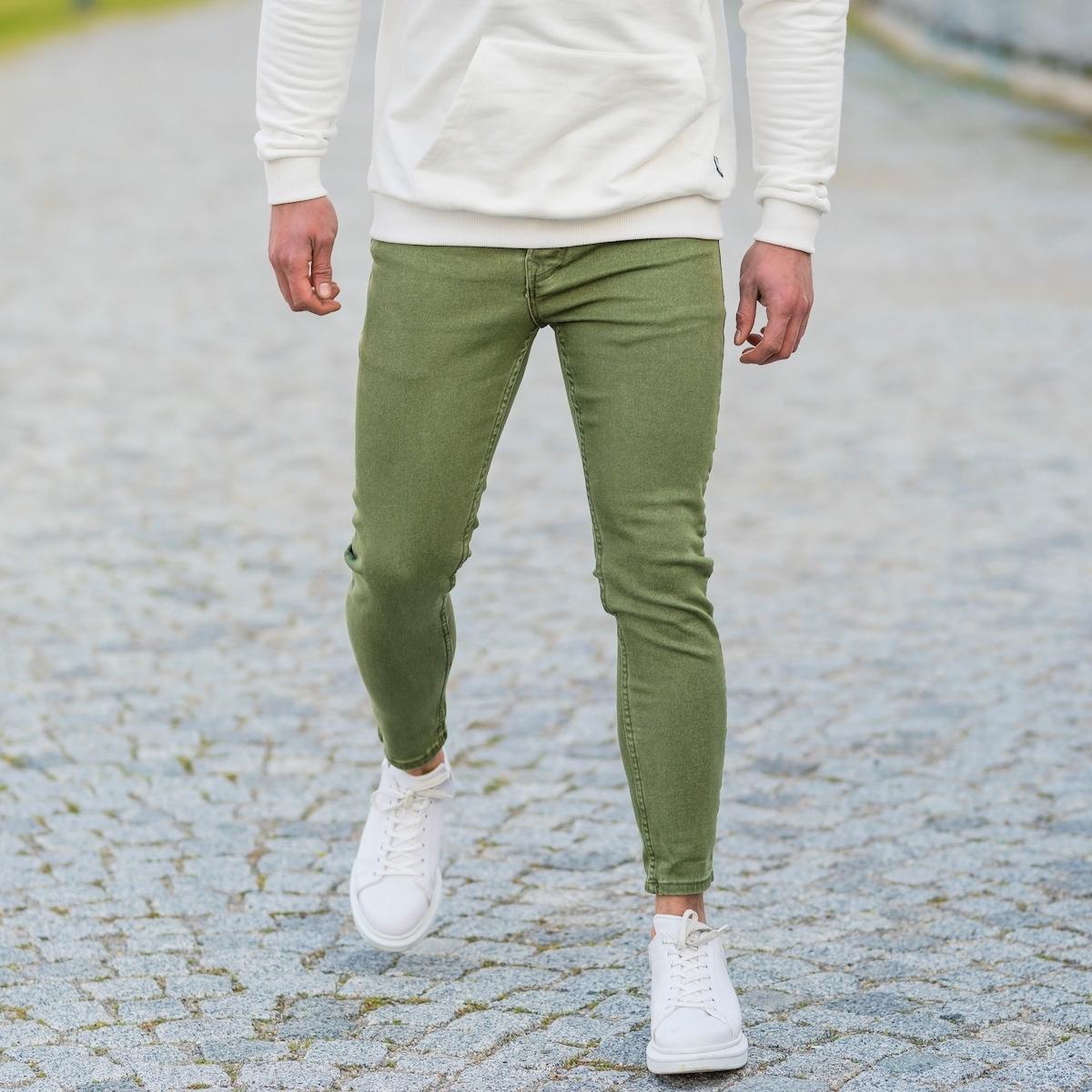 Erkek Yeşil Likralı Kot Pantolon