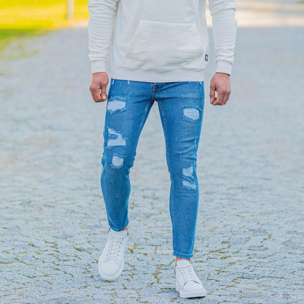Erkek Dar Paça Mavi Yırtıklı Kot Pantolon