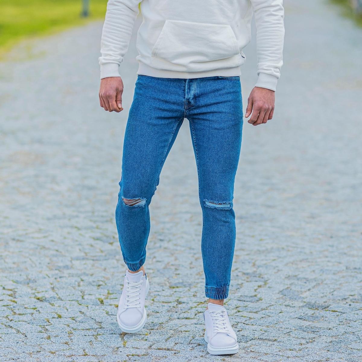 Erkek Lastik Paça Dizi Yırtık Mavi Kot Pantolon
