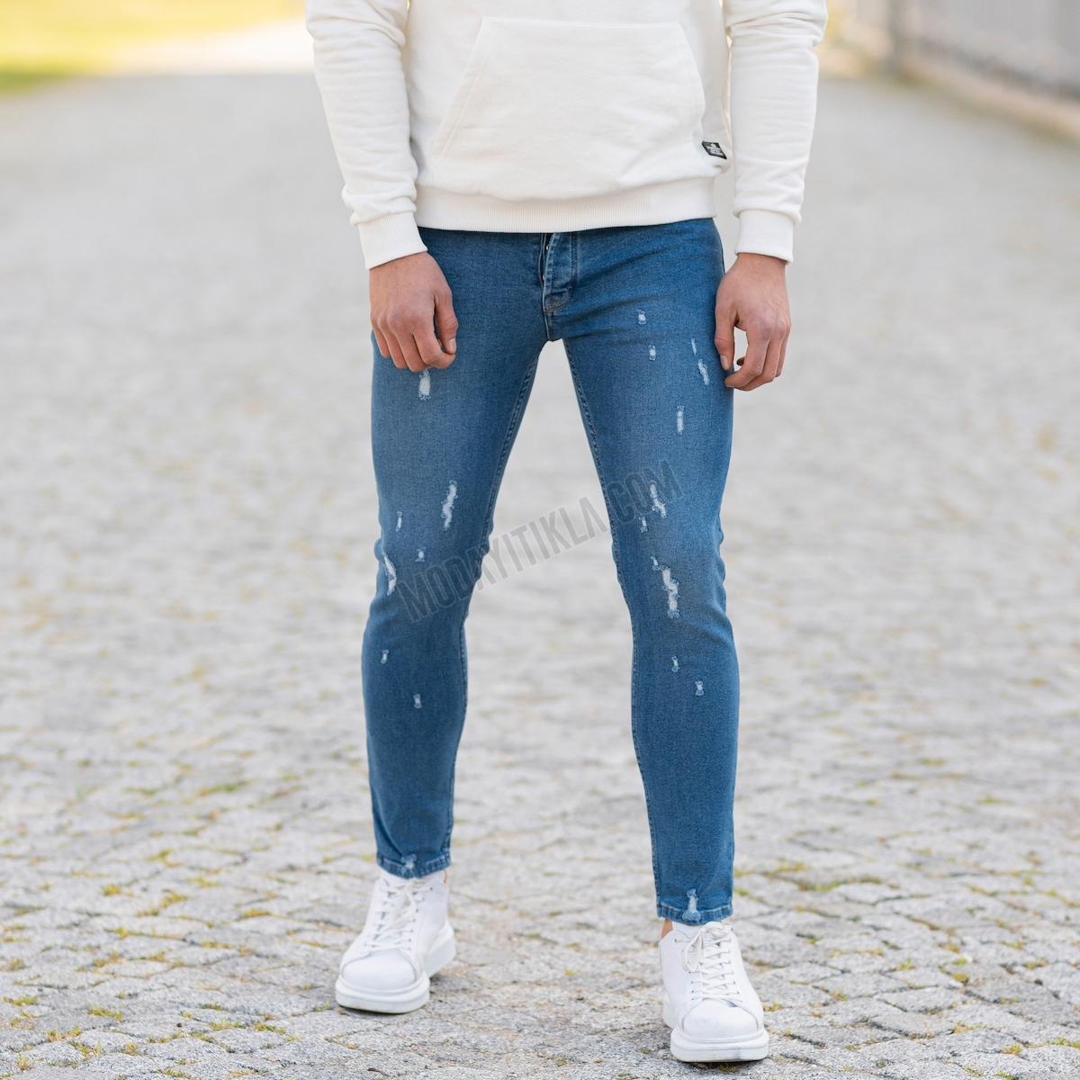 Erkek Basic Dar Paça Taşlamalı Jeans