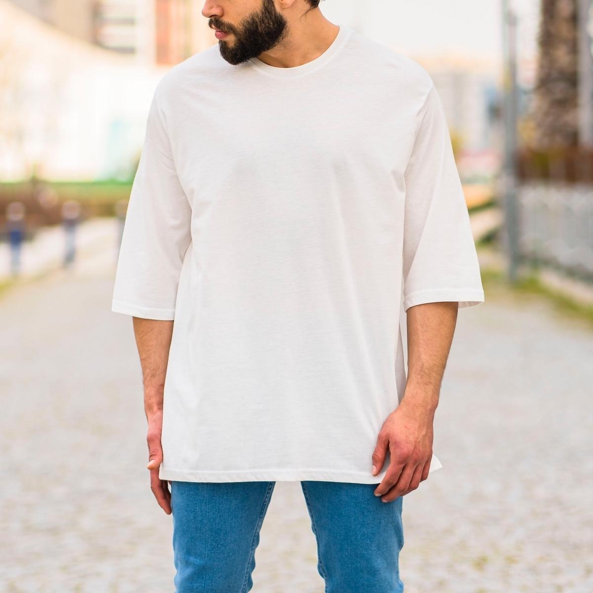 Erkek Uzun Kesim Yırtmaçlı Tişört Beyaz