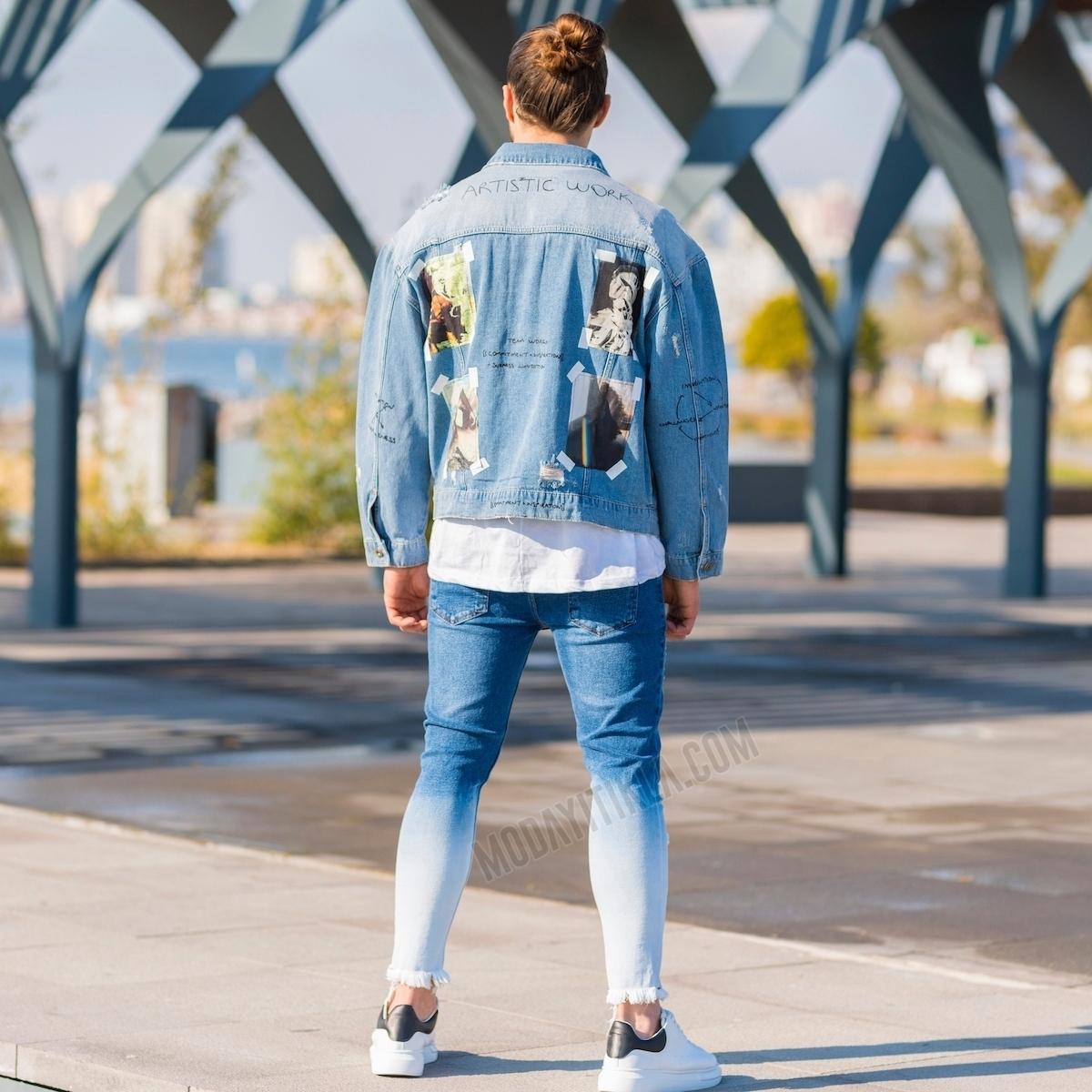 Erkek Yama Detaylı Kot Ceket