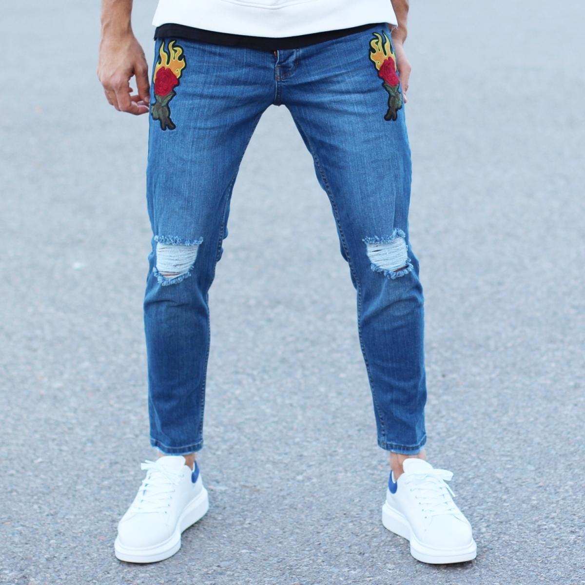 Erkek Mavi Gül Baskılı Kot Pantolon