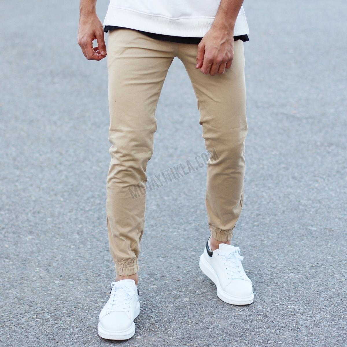 Erkek Krem Gabardin Pantolon