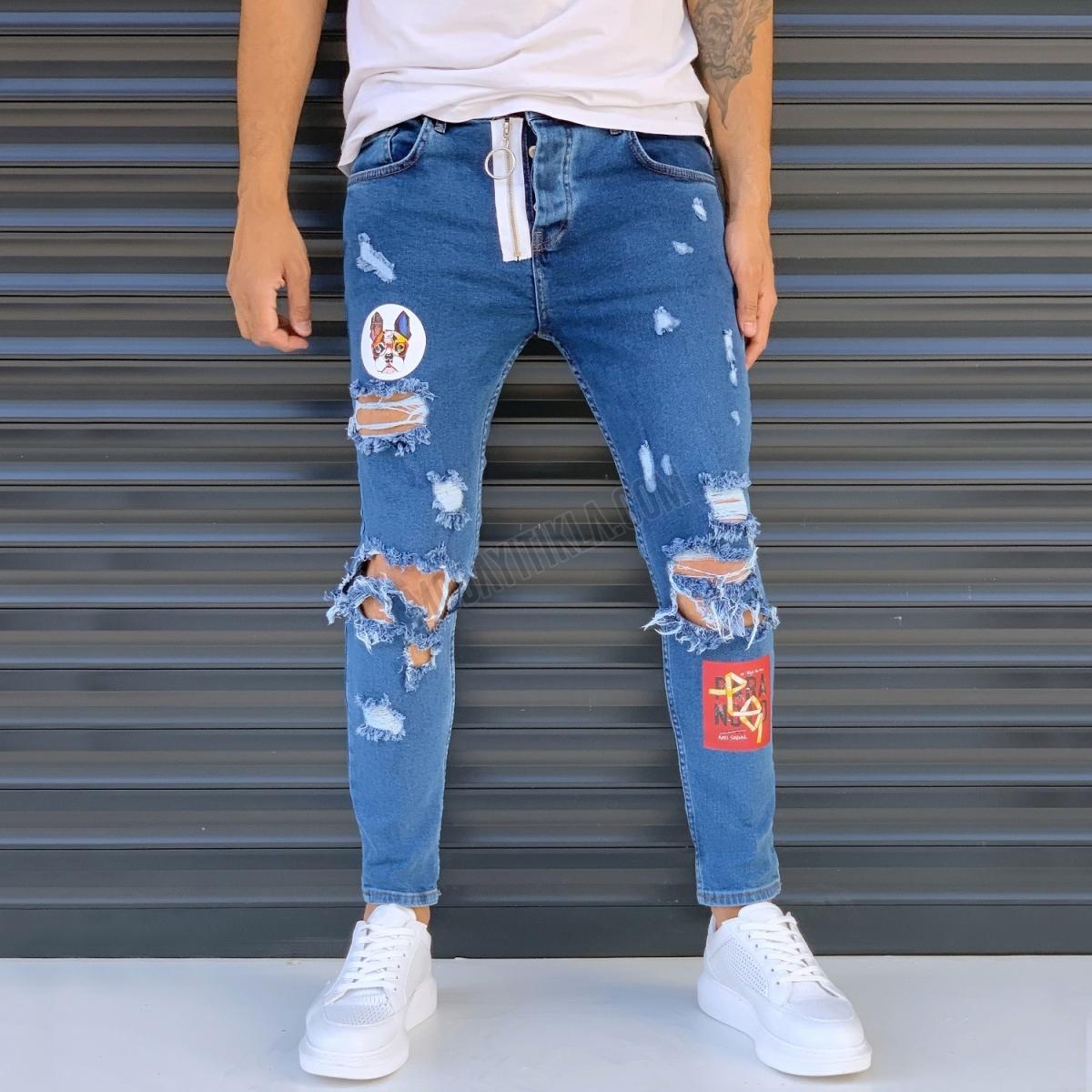Erkek Freedom Dizi Yırtık Armalı Kot Pantolon Mavi