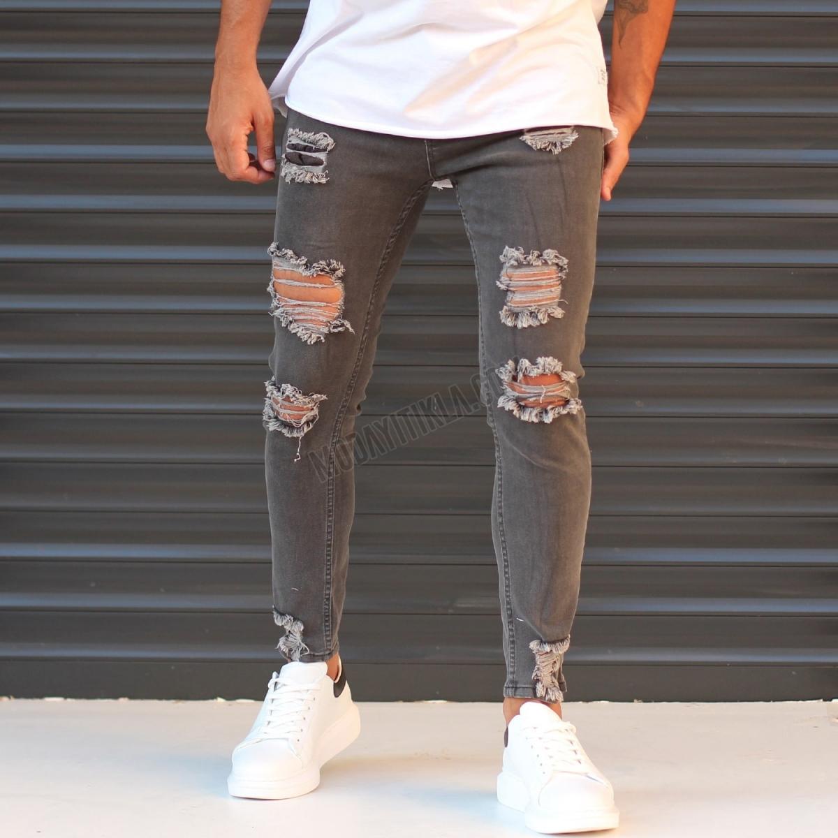 Erkek Dizi Yırtık Dar Paça Füme Jeans