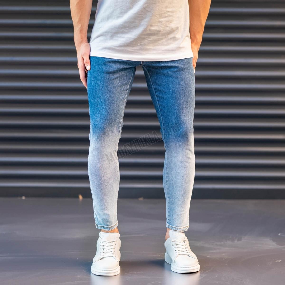 Erkek Geçiş Taşlamalı Jeans