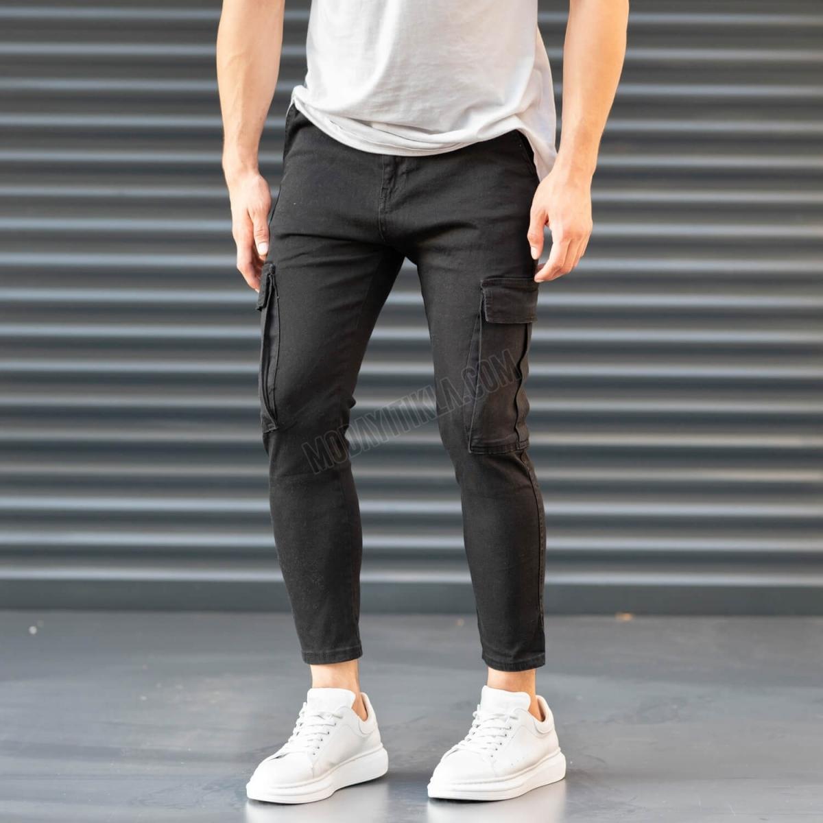Erkek Dar Paça Kargo Cep Siyah Pantolon