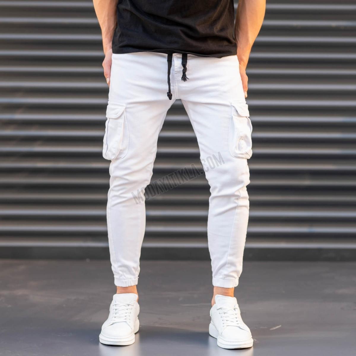 Erkek Dar Paça Kargo Cep Beyaz Pantolon