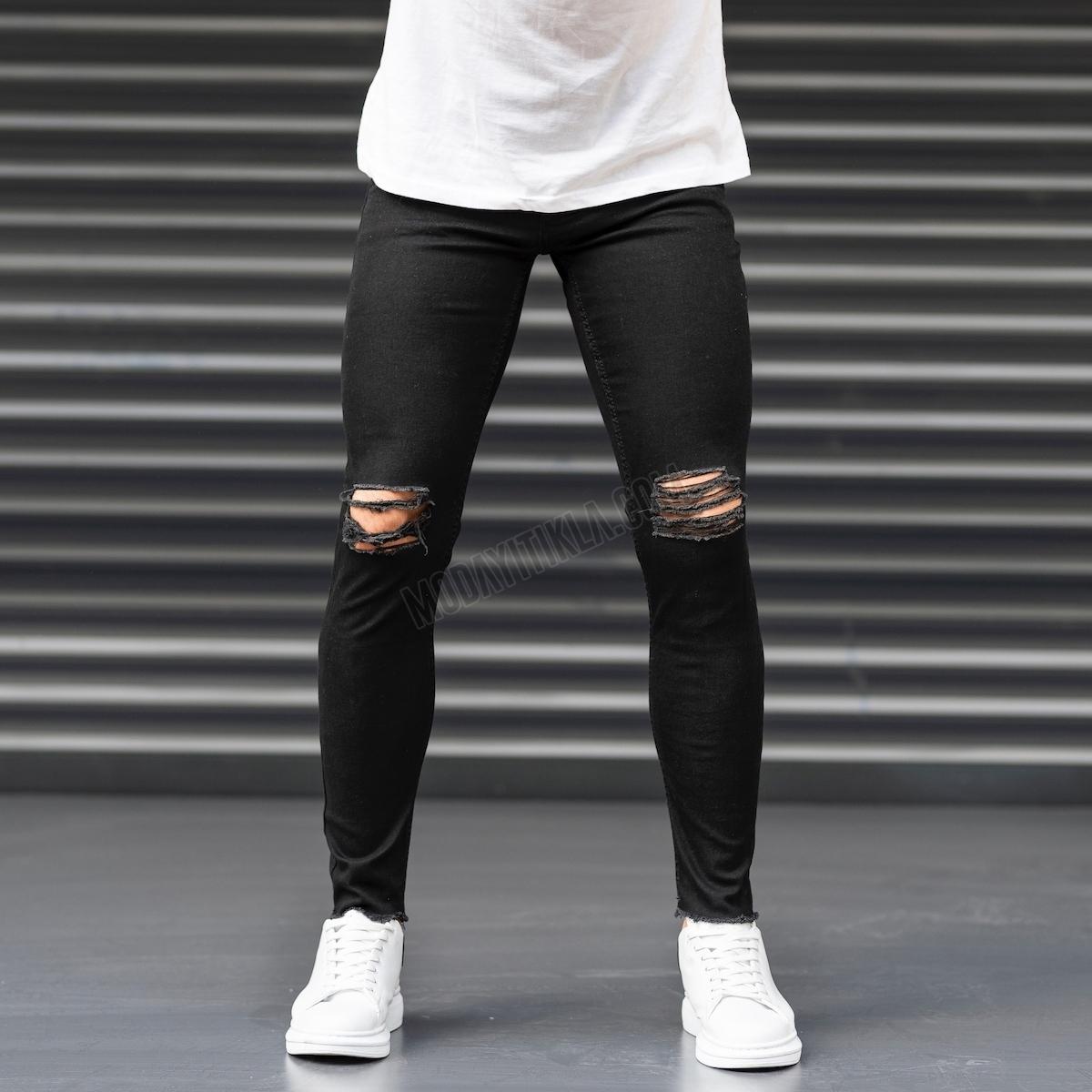 Erkek Dizi Yırtık Püskül Dar Paça Siyah Kot Pantolon