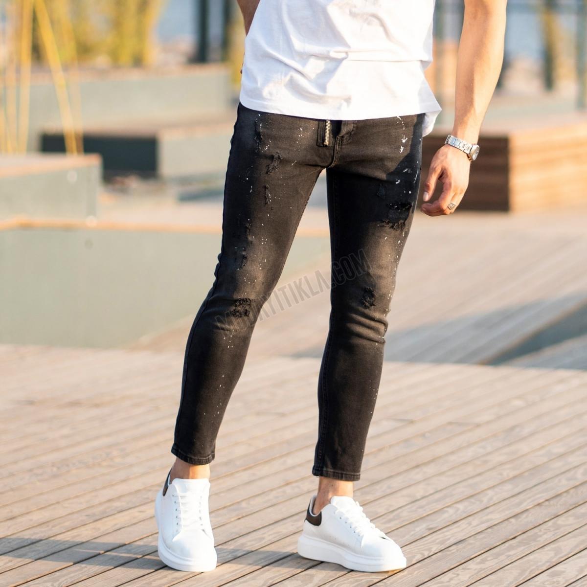 Erkek Boya Detaylı Ön Fermuar Siyah Jeans